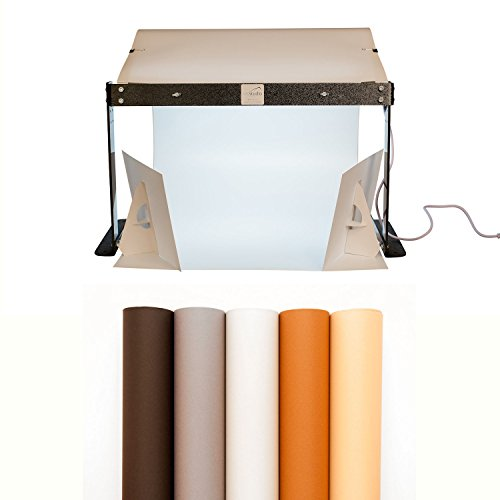 "MyStudio PS5 Portable Table Top Photo Studio Lightbox Bonus Kit with 5 Colored Backgrounds and two 9"" x 12"" White Bounce Card Reflectors"