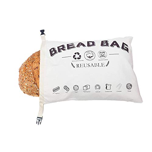 Cotton Bread Bag, Linen Bread Bags, Reusable Bread Bag, Bread Bags for Homemade Bread, Supplies Food and Bread Storage, Ideal Gift for Bakers,12.6'x 16.5'(White)