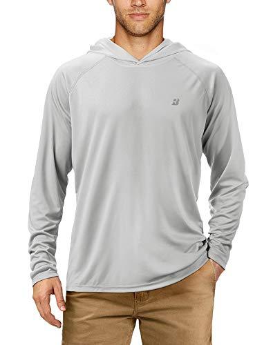 Roadbox UPF 50+ Fishing Shirts for Men Long Sleeve Sun Protection Lightweight Outdoor UV Hiking Shirts Gray