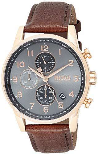 Hugo Boss Herren Chronograph Quarz Armbanduhr mit Lederarmband 1513496