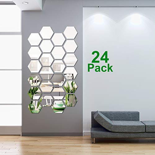 24 Pieces Removable Acrylic Mirror Setting Wall Sticker Decal Honeycomb Mirror for Home Living Room Bedroom Decor (Middle Hexagon, 5 x 4.3 x 2.5 Inches)