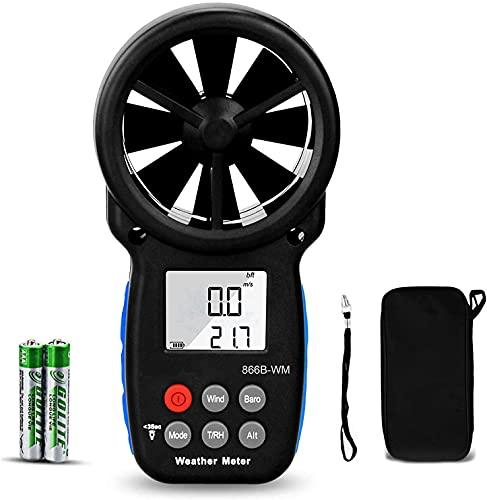 7 en 1 Anemómetro Digital,Medidor de Velocidad del Viento Portátil para Velocidad del Viento, Presión Barométrica,Temperatura con Sensación Térmica&Humedad Relativa,Punto de Rocío,Medida de Altitud
