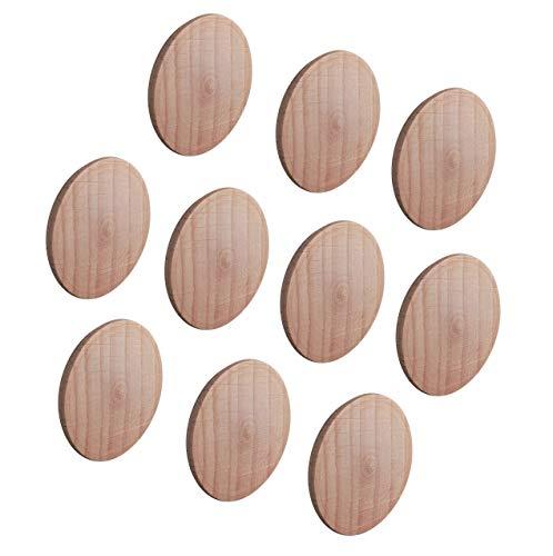 Gedotec Abdeckkappen MINIFIX Loch-Abdeckungen Holz für Blind-Bohrung Ø 35 mm   Massivholz Buche naturbelassen   Gesamt Ø 38 mm   Kappen rund zum Eindrücken   10 Stück - Schrauben-Kappen für Möbel