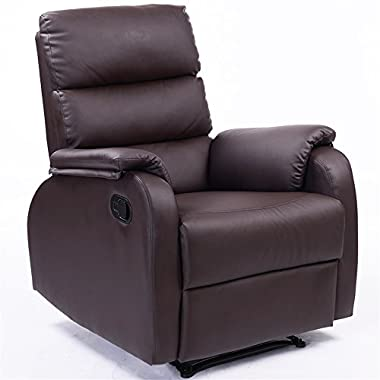 Dland Home Theater Seating Recliner Chair 8032-DB, PU leather, Dark Brown, Compact Size, 1 Pack