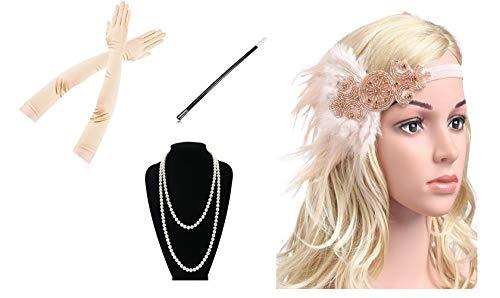 Yigoo Vestido de estilo charlestón años 20, accesorios para mujer de los años 20, charlestón, disfraz de Gatsby, accesorio para el pelo, cadena de perlas, guantes, color dorado