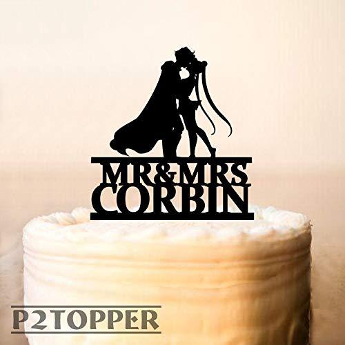 Wedding Cake Topper Sailor Moon & Tuxedo Mask Cake Topper Silhouette Cake Topper Mr And Mrs Cake Topper Bridal Shower Topper