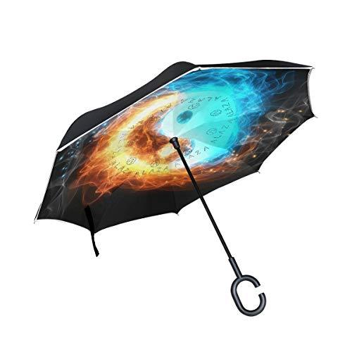 Rode dubbellaagse omgekeerde Yin Yang ijs- en vuurparaplu-auto's draaien winddichte regenparaplu voor in de buitenauto met C-vormige handgreep.