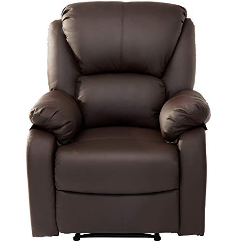 Jedona Fernsehsessel, Verstellbar Liegesessel mit Liegefunktion Moderner Relaxsessel Leder Sofa Push Back Sessel für Home Lounge Gaming Cinema (Braun)