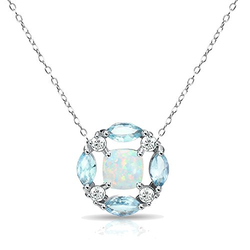 GemStar USA Sterling Silver Synthetic Opal and Blue Topaz Necklace with White Topaz Accents