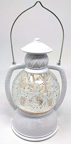Christmas White Glitter LED Snow Globe Lantern with Metal Handle 17cm Tall Forest with Reindeer Scene