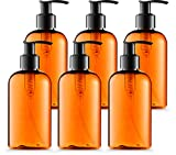 Bar5F Empty Plastic Lotion Bottles 8 Oz. with Black Pump Dispenser, Amber Color, Great for - Creams, Body Wash, Hand Soap, Self-Tanners, Bronzers and Massage Lotion (Pack of 6)
