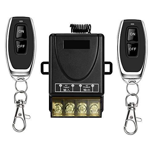 YETOR Fernbedienung schalter,220V-230V-240V 40A Relais Drahtloser RF Schalter für Haushaltsgeräte, Pumpen, Lichtdecken und elektrische Geräte mit 328 ft langer Reichweite(black)