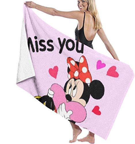 BAOYUAN0 Miss You Minnie Mouse Toalla de baño Super Suave de Secado rápido y Muy Absorbente 80*130cm