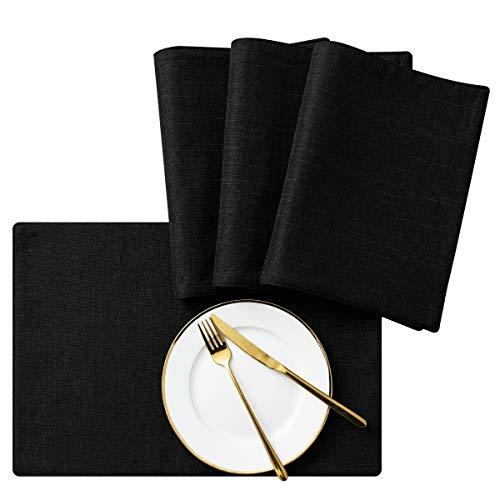 subrtex Lino Manteles Individuales Lavable Antideslizante Resistente al Calor Mantel Individual para Mesa de Cocina (Negro, 4pcs)
