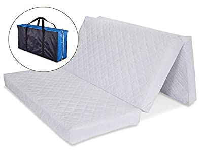 "LA Baby Multi-Use Waterproof Folding Portable Crib Mattress/Play Mat with Travel Carry Case, 1.5"" - Easy to Clean, Hypo-Allergenic, Anti-Microbial & Non-Toxic Cover, 1.5"""