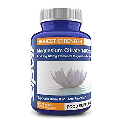 Magnesium Citrate 1400mg Providing 400mg Elemental Magnesium Per Serving, 120 Vegan Capsules (2 Months Supply). Supports Muscle and Bone Health. Vegetarian Society Approved.