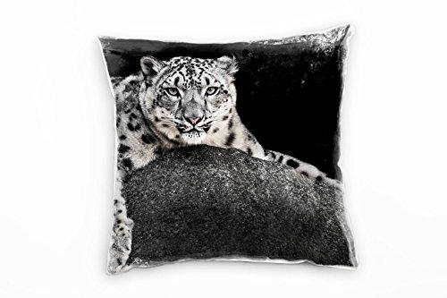 Paul Sinus Art Dieren, liggend luipaard, grijs decoratief kussen 40x40cm voor bank bank bank lounge sierkussen - decoratie om je goed te voelen