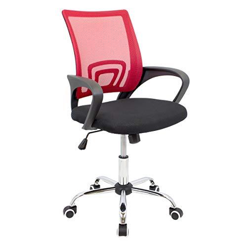 CashOffice - Silla de Escritorio Ergonómica, Silla de Oficina Giratoria con Respaldo Transpirable (Rojo)