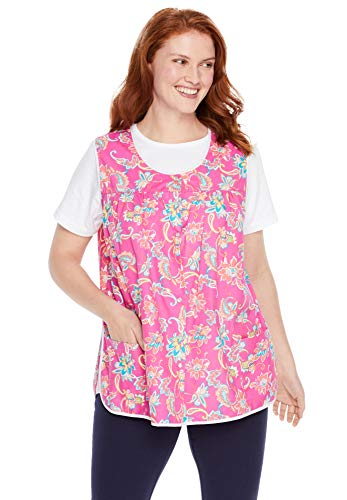 Only Necessities Women's Plus Size Snap-Front Apron - 26/28, Paradise Pink Paisley Multicolored