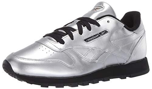 Reebok klassische Damen-Sneaker aus Leder, Silber (Silber-Metallic/Schwarz), 39 EU