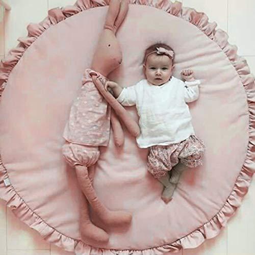 Jinxuny Babyspielmatte Kinderzimmer Teppiche Kriechende Babydecke Teppichdecke, Baumwollprinzessin Frill Rim Runde Pad Bodendecke