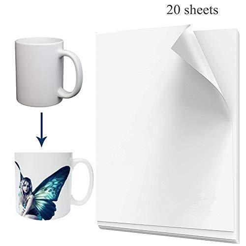 20 vellen sublimatie warmteoverdrachtpapier A4-formaat voor licht polyester T-shirt transfer sublimatie inkt inkjetdruk sneldrogend voor DIY afdrukbaar (21 x 30 cm)