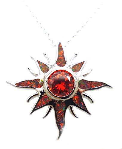 Tanglz - Colgante de sol con cadena de ópalo de fuego rojo, cuarzo rojo y plata maciza 925/1000, piedra para armonizar la energía.