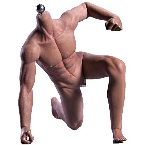 HiPlay JIAOUDOLL 1/6 超柔軟性 男性 シームレス フィギュア ボディ 足取れる 高耐久性・超可動 (細マッチョ体型, サンタン肌)