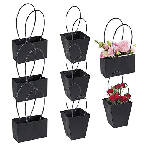 Kraftpapier Blumen Geschenktüten Blumen Bouquet Taschen Box mit Griff Wasserdicht Papier Geschenk Party Tasche für frische Blumen Pflanzen Geschenk Hochzeit Geburtstag Valentinstag