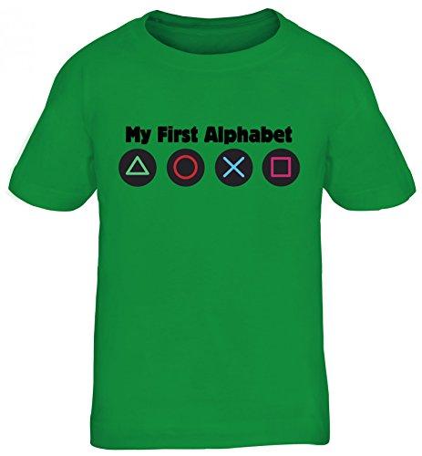 Geek Nerd Gamer Kinder T-Shirt Rundhals Mädchen Jungen Game Controller - My First Alphabet, Größe: 134/146,Kelly Green
