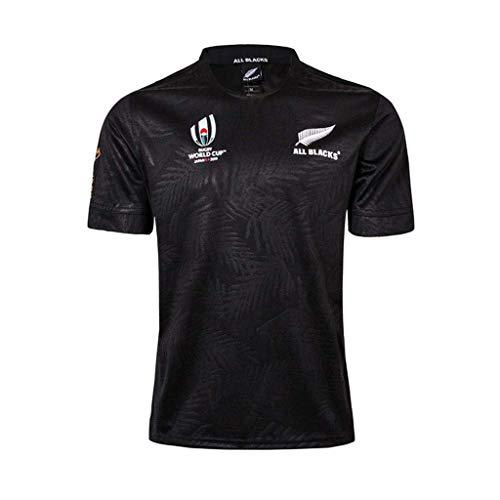 Pavilion Rugby Jersey Neuseeland Alles Schwarz Hemd 2019 Welt Tasse Ventilator Kurz Ärmel Beiläufig Atmungsaktiv T-Shirt (Color : Black, Size : S)