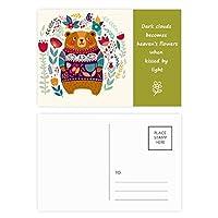 創造的な漫画の動物のピンク 詩のポストカードセットサンクスカード郵送側20個
