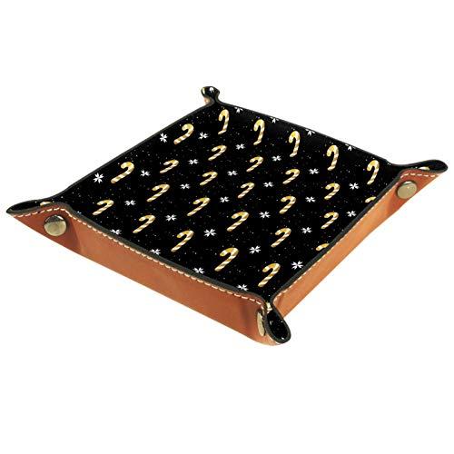 KAMEARI Ledertablett Golden Candy Cane-01 Schlüssel Telefon Münzbox Rindsleder Münzablage Praktische Aufbewahrungsbox