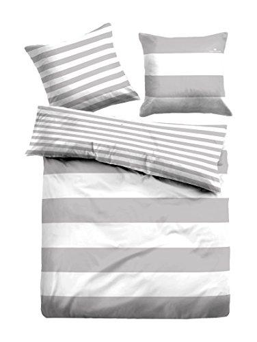 TOM TAILOR 0049769 Linon Bettwäsche Garnitur mit Kopfkissenbezug (Baumwolle) 1x 135x200 cm + 1x 80x80 cm, grau