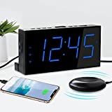 Super Loud Alarm Clock for Heavy Sleepers,Bed Shaker Alarm for Hearing Impaired Deaf People,USB Port,Dual Alarm with Snooze,7' Large LED Display with 3 Brightnees Levels,Battery Backup,Easy to Use,DST