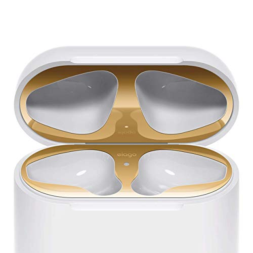 elago Upgraded AirPods Dust Guard (Gold, 2 Sets) – Dust-Proof Film, Luxurious Looking, Must Watch Easy Installation Video, Chromium Plating, Protect AirPods from Metal Shavings [US Patent Registered]