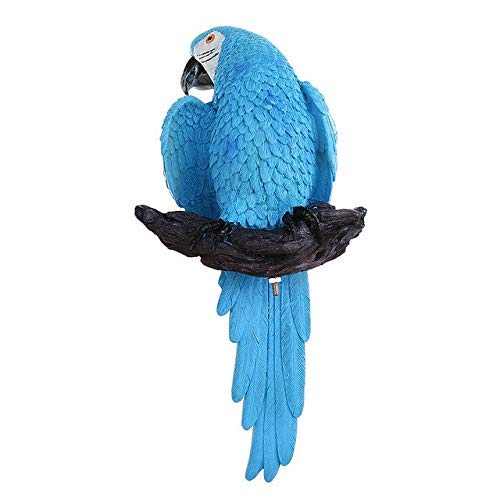 GaoF Estatua de pájaro Loro Artificial Modelo de Animal bonsái, decoración del hogar Accesorios de decoración de jardín en Miniatura Estatua de pie 33.5X15.5Cm Azul