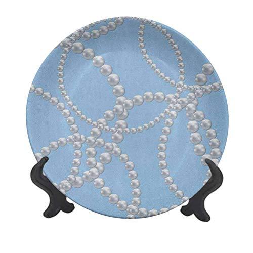 Plato decorativo de cerámica con perlas de 15,24 cm, collar de perlas, pulsera clásica para mujer, novio o ducha, diseño femenino, plato de cerámica decorativo para mesa de Navidad