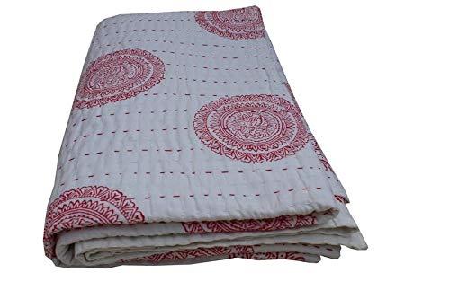 Manta grande con estampado floral rojo de algodón Kantha para cama doble, colcha bohemia, colcha para dormitorio, sofá de 228 x 258 cm