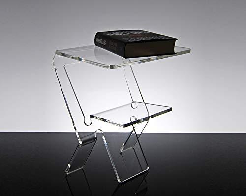 Slato Comodino da Notte dal Design Moderno in plexiglass Trasparente Oniro (32 × 27 × h 38 cm)