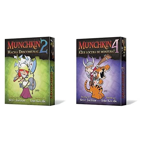 Edge Entertainment Munchkin 2: Hacha Descomunal (Asmodee, Eesjmu02), Color + Munchkin 4: Qué Locura De Montura, Juego De Mesa