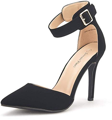 DREAM PAIRS Oppointed-Ankle Women's Pointed Toe Ankle Strap D'Orsay High Heel Stiletto Pumps Shoes Black Nubuck-sz-8