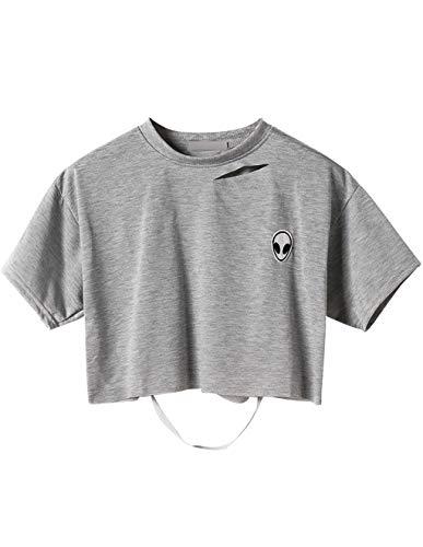 Siennaa Top Damen Sommer Shirt, Teenager Mädchen Mode Alien Stickerei Bauchfrei Oberteil Hohle Loch Sport Casual Blusen Shirt Kurzes Tank Top Hemd Frauen Rückenfrei Kurzarm T-Shirts