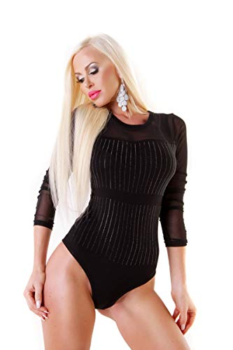 OSAB-Fashion 4436 Damen Body-Shirt Langarm Body Shirtbody Clubwear Glitzersteine