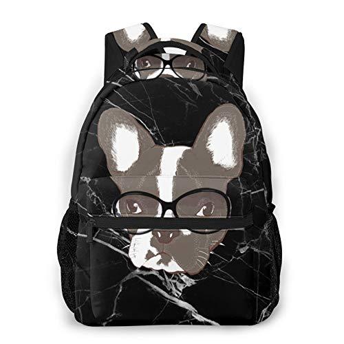 Cute Black Backpack, French Bulldog Daypacks Work Bags for Teens Boys Girls
