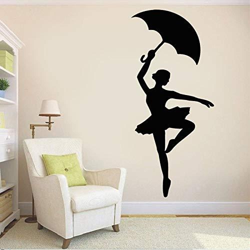 HGFDHG Bailarina Silueta Pared calcomanía Paraguas Bailarina Vinilo Ventana Pegatina niña Dormitorio Ballet Escuela Sala de Baile decoración Interior