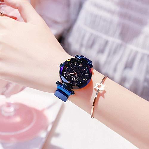 CMXUHUI Moderno y generoso, una buena opción para tu reloj de mujer de l elegante imán de moda reloj de cuarzo con hebilla cielo estrellado reloj digital para mujer (color: azul)