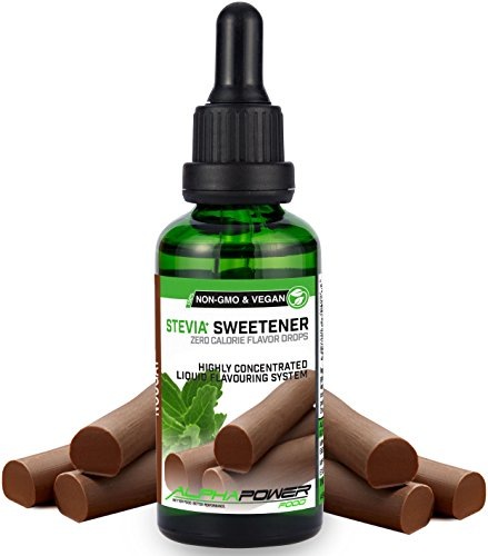 ALPHA POWER FOOD®: Stevia líquida natural - Stevia Gotas de turrón, Edulcorante natural, sustituto del azúcar con sabor - sin azúcar & calorías