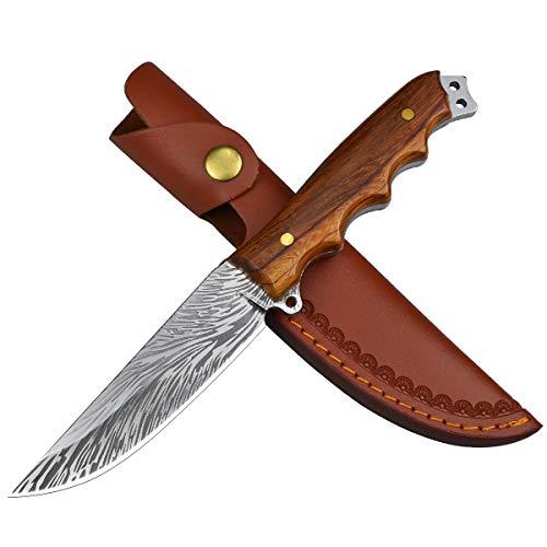 AUBEY Jagdmesser Outdoor Survival Messer Feststehend Bushcraft Messer mit Ledertasche, D2 Stahl Klinge Extra scharf,Survivalmesser mit Holzgriff