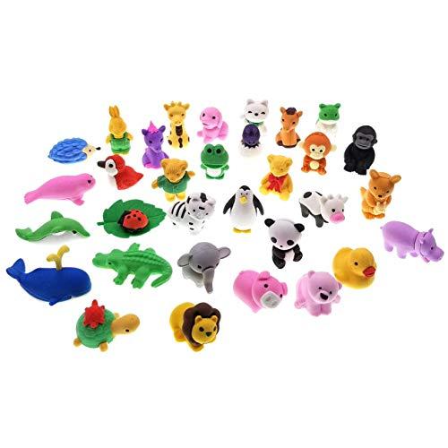 JZK 32 Rimovibile piccola gomma cancellare matita set mini giocattoli animali regalino bomboniera per festa bambini compleanno battesimo Natale